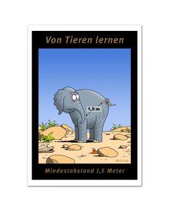POSTER - ABSTAND HALTEN - Elefant & Maus