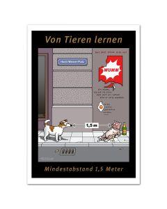 POSTER - ABSTAND HALTEN - Hund & Katze